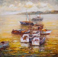 Лодки в закатном заливе N4