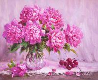 Букет розовых пионов и вишня