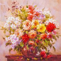 Букет летних цветов в стеклянной вазе