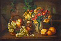 Натюрморт с осенними цветами, виноградом и апельсинами