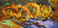 Копия картины Ван Гога. Четыре срезанных подсолнуха
