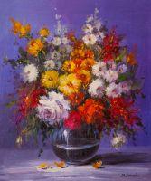 Букет роз и садовых астр в вазе
