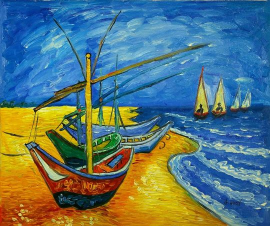"""Рыбацкие лодки на пляже в Сент-Мари-де-ля-Мер"" 1888г."