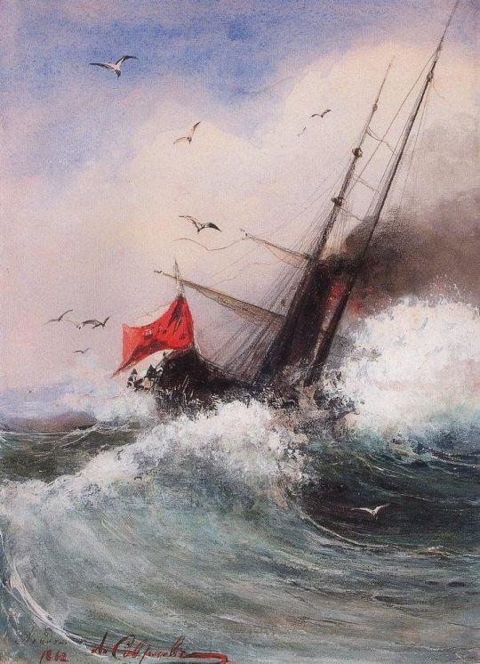 Гибель корабля в море