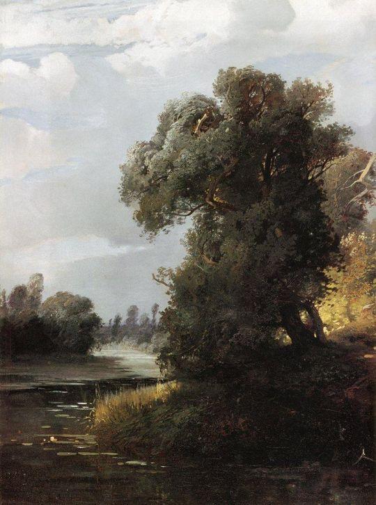 Летний день. Ивы на берегу реки