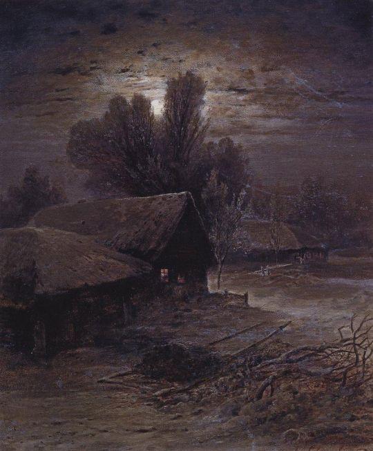 Лунная ночь в деревне (Зимняя ночь)