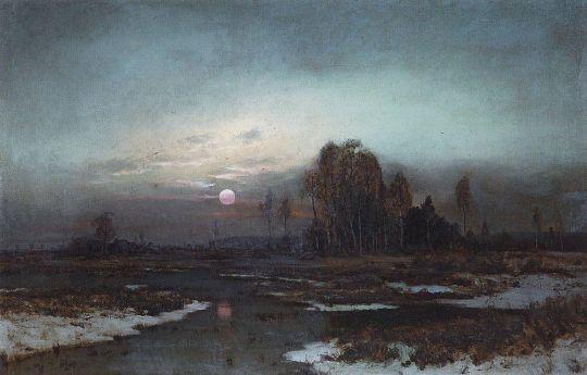 Осенний пейзаж с заболоченной рекой при луне