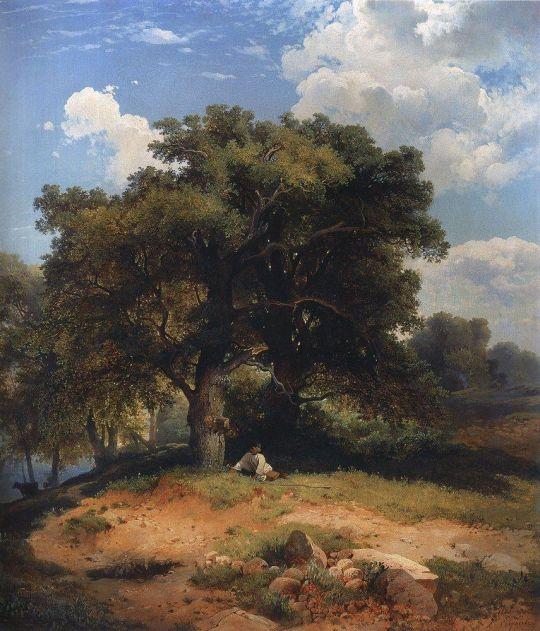 Пейзаж с дубами и пастушком