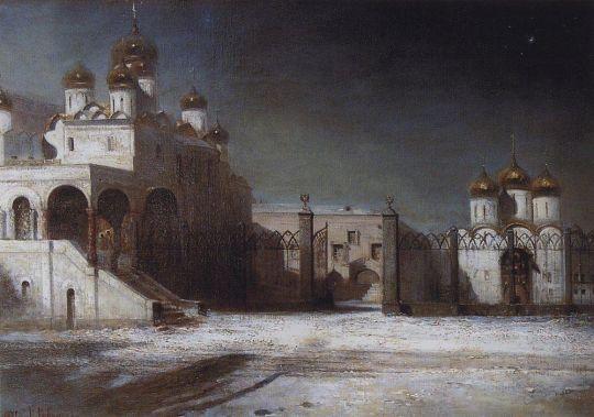 Соборная площадь в Московском Кремле ночью