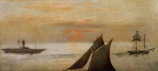 Лодки в море, закат