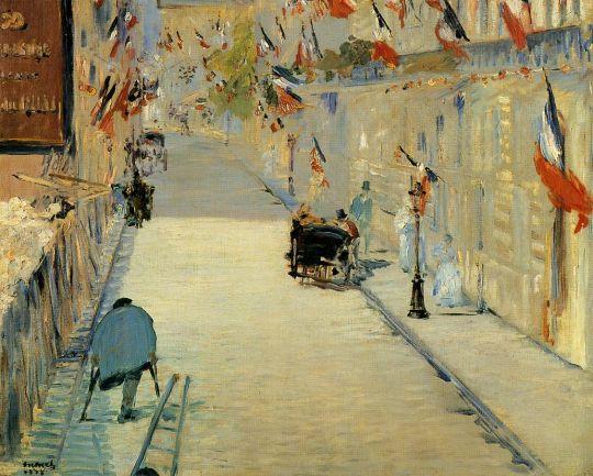 Улица Монье украшенная флагами, с человеком на костылях