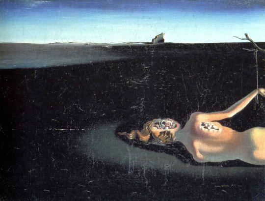 Спящая женщина на фоне пейзажа