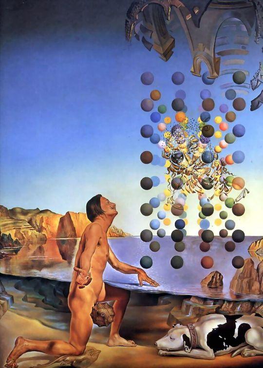 Обнаженный Дали, созерцающий пять упорядоченных тел, превращающихся в корпускулы, из которых неожиданно сотворятся Леда Леонардо, оплодотворённая лицом Гала