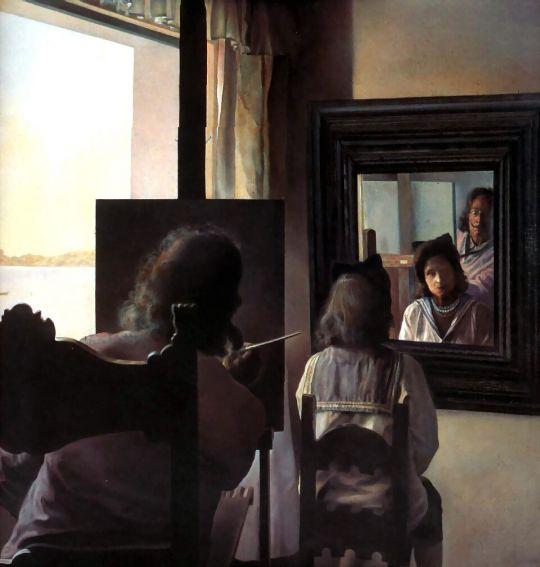 Дали, повернувшись спиной, пишет портрет Галы