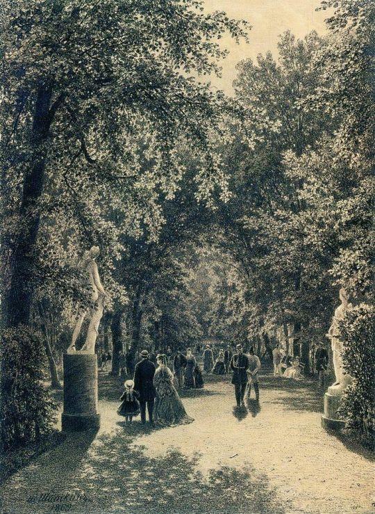 Аллея Летнего сада в Петербурге.