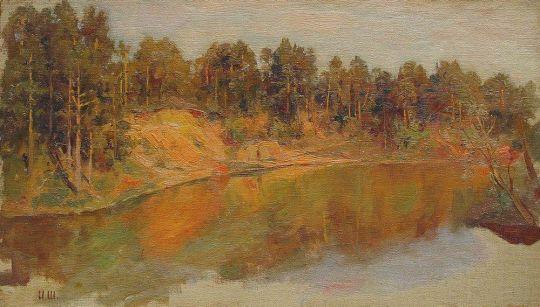 Лесной пейзаж с ручьем