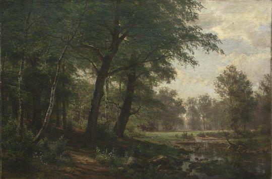Лесной пейзаж с фигурами.
