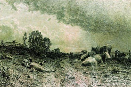 Летом в поле (Пейзаж со стадом).
