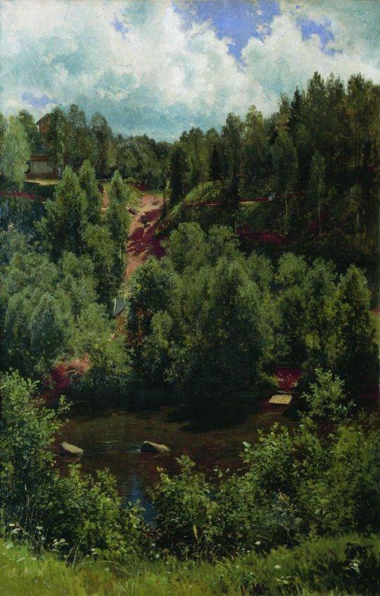 После дождя. Этюд леса.
