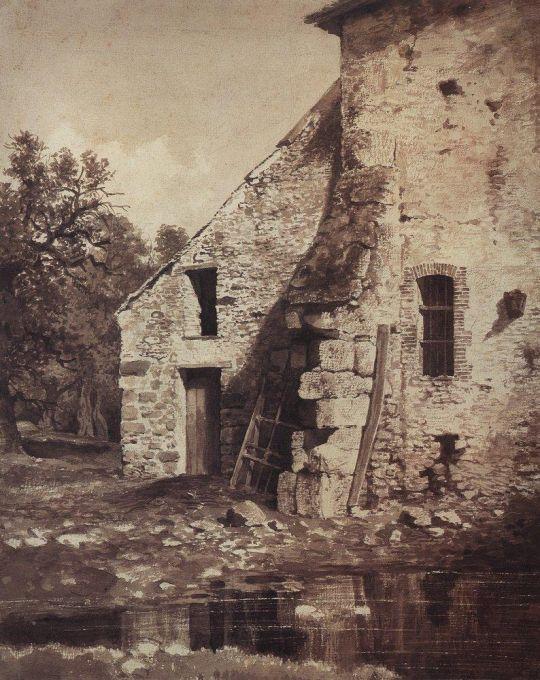 Старый дом на берегу пруда.