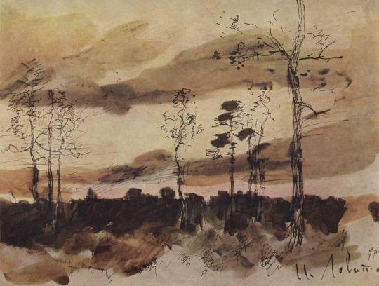 Закат. Опушка леса.