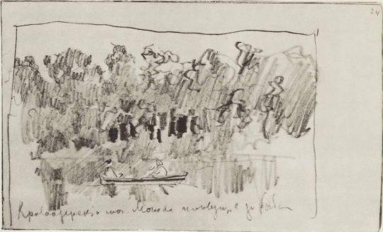 Кривоозерский монастырь. Монахи, плывущие за рыбой.