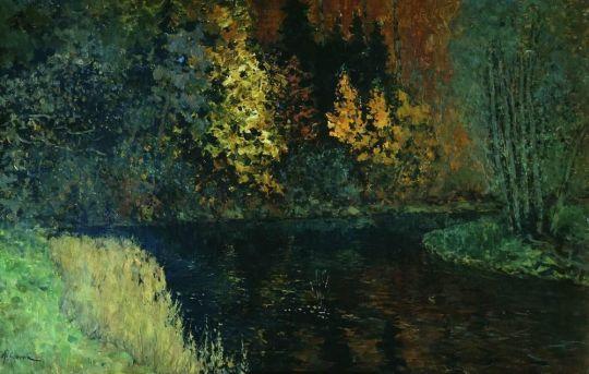 Лесная река. Осень на реке Истра.