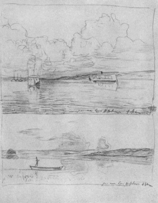 На Волге. У берега (пейзаж с лодкой).
