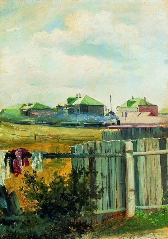 Пейзаж с забором