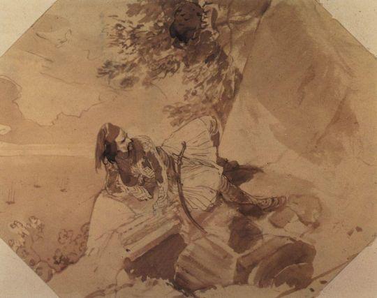 Грек, лежащий на скале.