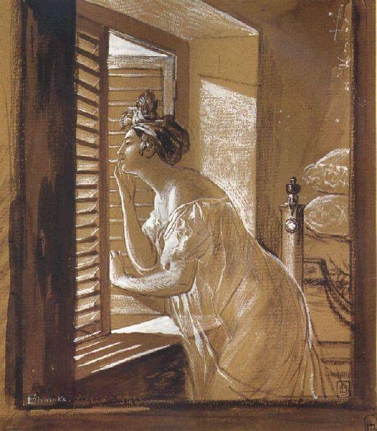 Женщина, посылающая поцелуй из окна.