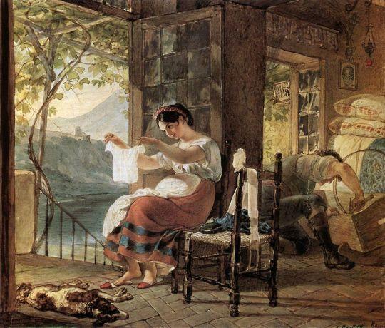 Итальянка, ожидающая ребенка, разглядывает рубашку, муж сколачивает колыбель.