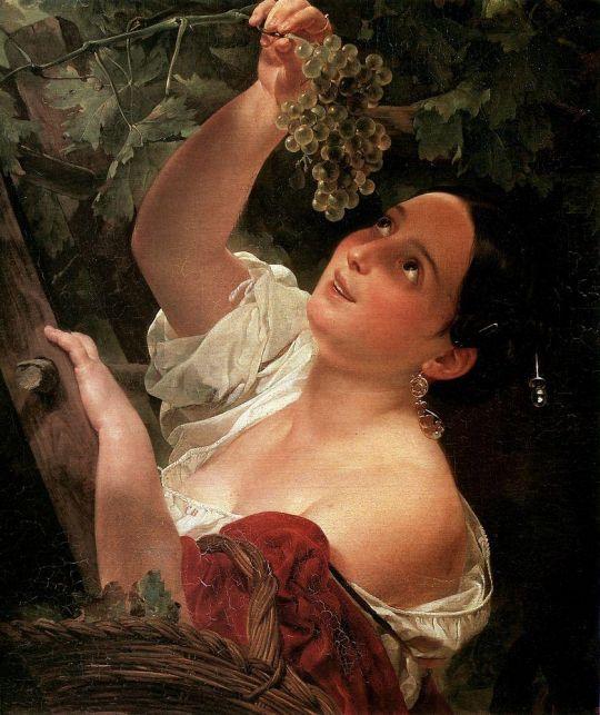 Итальянский полдень ( Итальянка, снимающая виноград ).