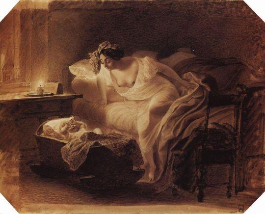 Мать, просыпающаяся от плача ребенка.
