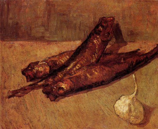 Натюрморт с копченой рыбой и чесноком