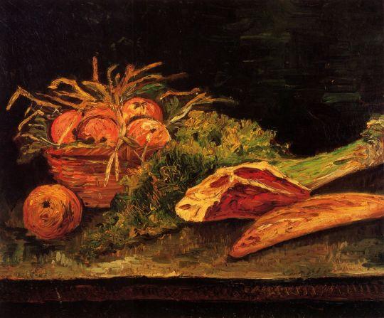 Натюрморт с Яблоками, Мясом и багетом