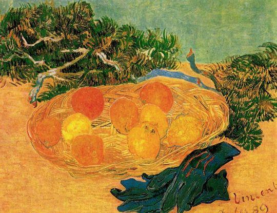 Натюрморт с апельсинами, лимонами и синими перчатками