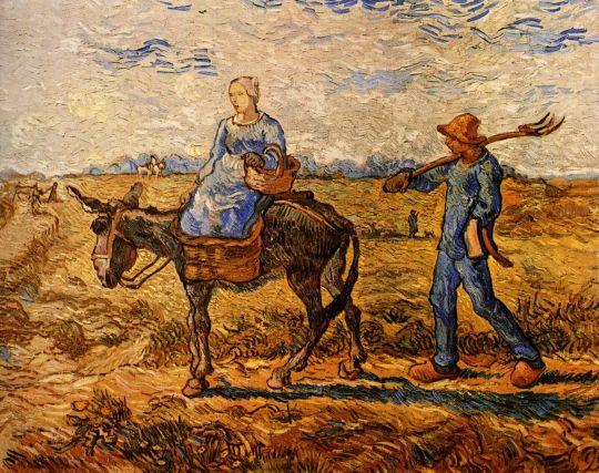 Двое крестьян идут сутра на работу