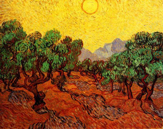 Оливковые деревья на фоне желтого неба и солнца