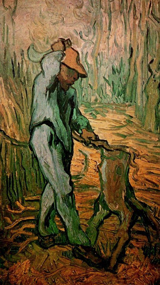 Лесоруб перед скошенной пшеницей