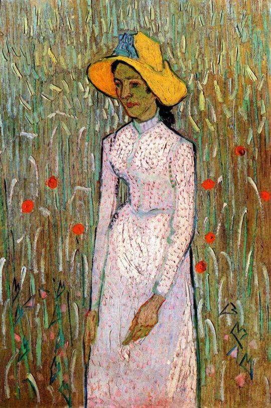 Девушка и пшеницы на заднем плане
