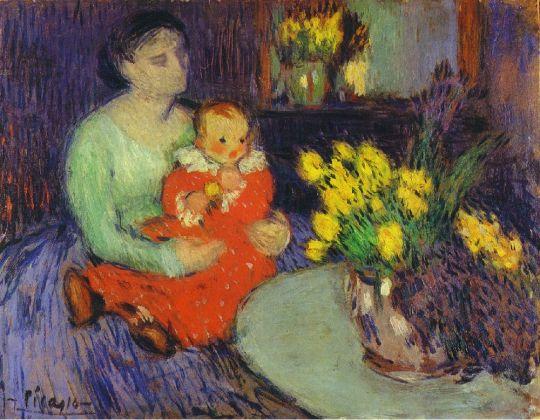 Мать и дитя перед вазой цветов