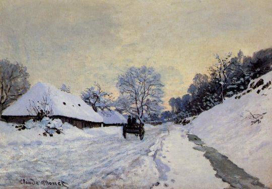Повозка на на покрытой снегом дороге с фермой Сен-Симеон