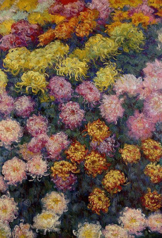 Кровать с хризантемами
