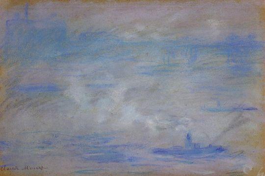 Лодки на Темзе,  туман