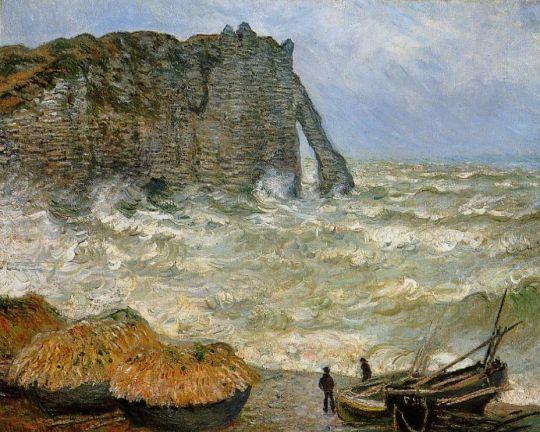 Этрета, бушующем море