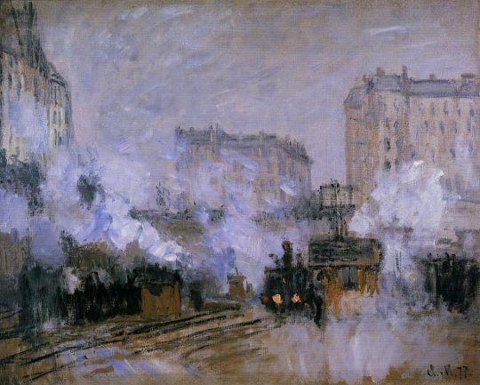 Вид вокзала Сен-Лазар, прибытие поезда