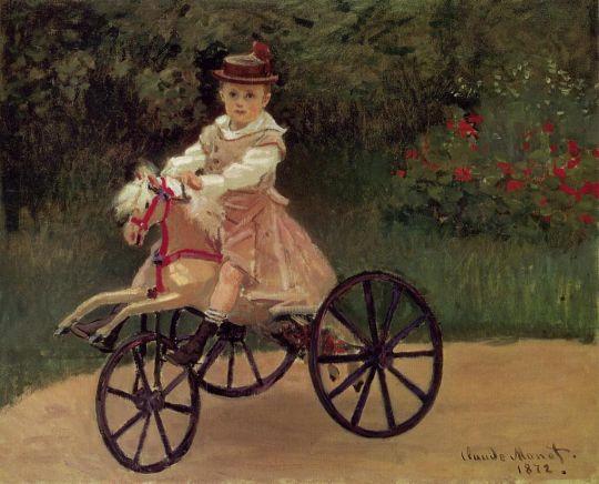 Жан Моне на трёхколёсном велосипеде-коне
