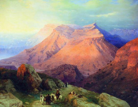 Аул Гуниб в Дагестане. Вид с восточной стороны