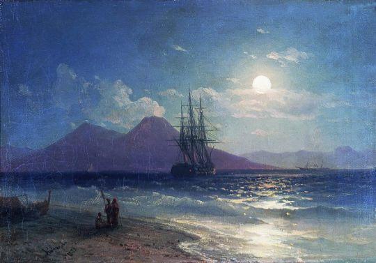 Вид моря ночью